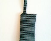 Handmade Turquoise and Brown Chevron Wristlet / OOAK / Gifts Under 20 /  Fall Accessories