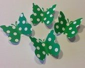 Butterfly Confetti - 50 Green with White Polka Dots, Birthday Party, Baby Shower, Wedding, Party Decor