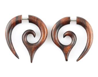 """Fake Gauge Earrings - Wood Tribal Earrings Fake Piercing - Sono Wood """"Dripping Honey"""" Spiral Earrings - Wood Jewelry"""