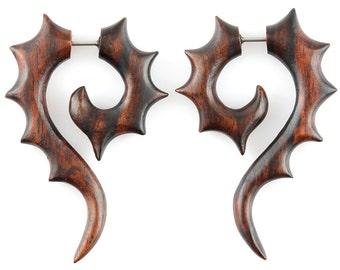 """Fake Gauge Earrings - Wood Tribal Earrings Fake Piercing - Sono Wood """"Seahorse Spike Spiral"""" Earrings - Wood Jewelry"""