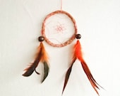 Dream Catcher - Orange Indian Summer - With Natural Orange Feathers, Orange Frame and Transitional White-Orange Nett - Home Decor, Mobile