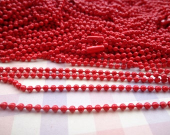 10 pcs 27 inch 2.4 mm Red ball necklace chain with matching connector
