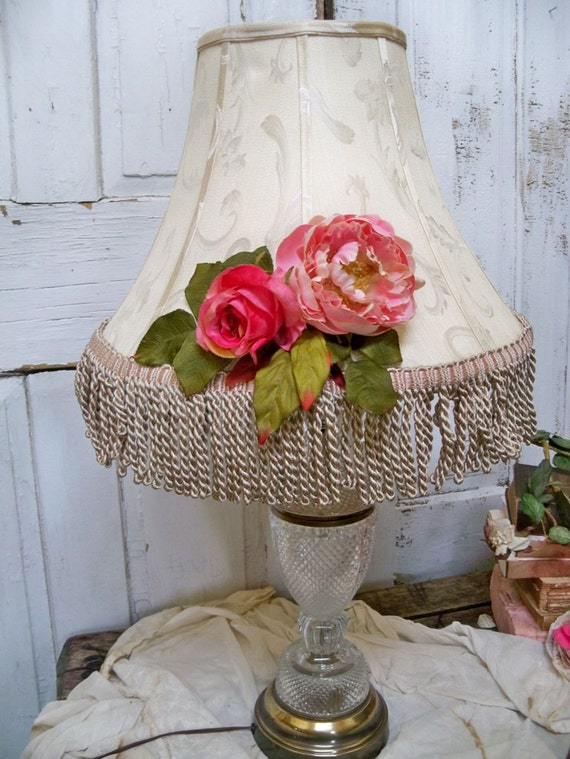 Large adorned upcycled shabby chic lampshade fringe pink roses salvaged piece home decor Anita Spero