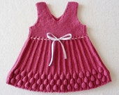 Hand Knitted Baby Dress - RASPBERRY