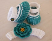 Hand Knitted Baby Booties  and Headband