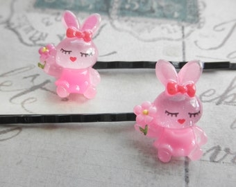 Girls Pink Bunny Rabbit Hair Kawaii Bobby Pins