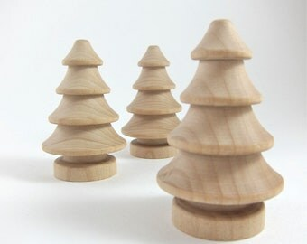 3 Christmas Trees, Unfinished Wooden Pine Tree Holiday Crafts - Set of 3