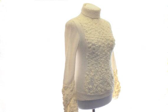 knitted sweater / Women sweater /  white cream / OOAK