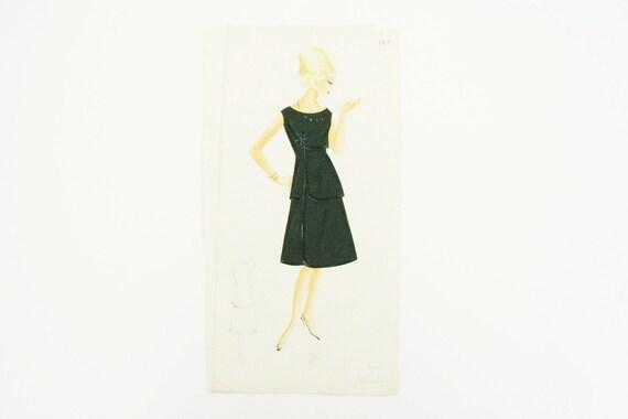 Italian fashion Illustration 1960's, Original, pencil, watercolor and tempera painting black dress