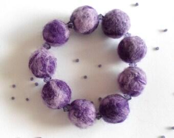 Felt Bead Bracelet in Purple and Lavender