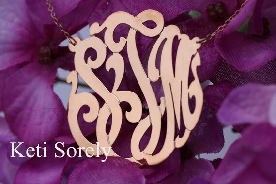 Handmade Monogram - Initials Neckalce  Small To Large Sizes (Order Any Initials) - Rose Gold with Sterling Silver
