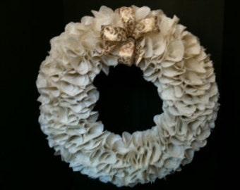 "Extra Large 23"" Cream Ruffle Burlap Wreath"