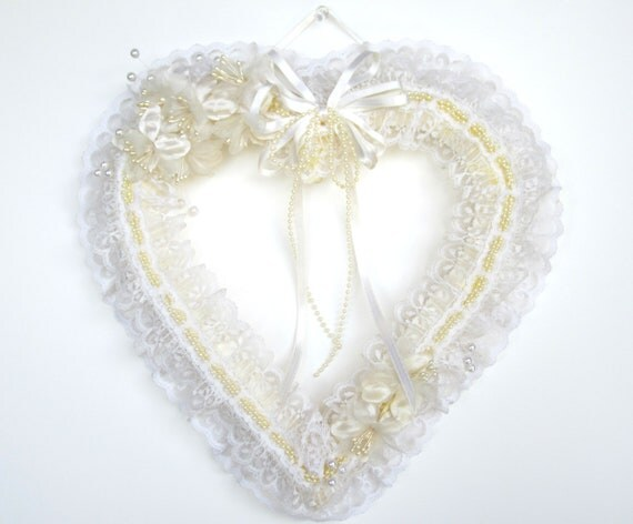 Items similar to vintage wall decor wedding shower white heart wall hanging lace pearls - Wall decoration with pearls ...