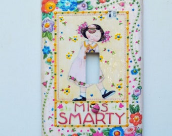 Light Switch Cover Miss Smarty Mary Englebreit Embellished Plate Cover -  Mini Vignette - One of a Kind - Great Gift