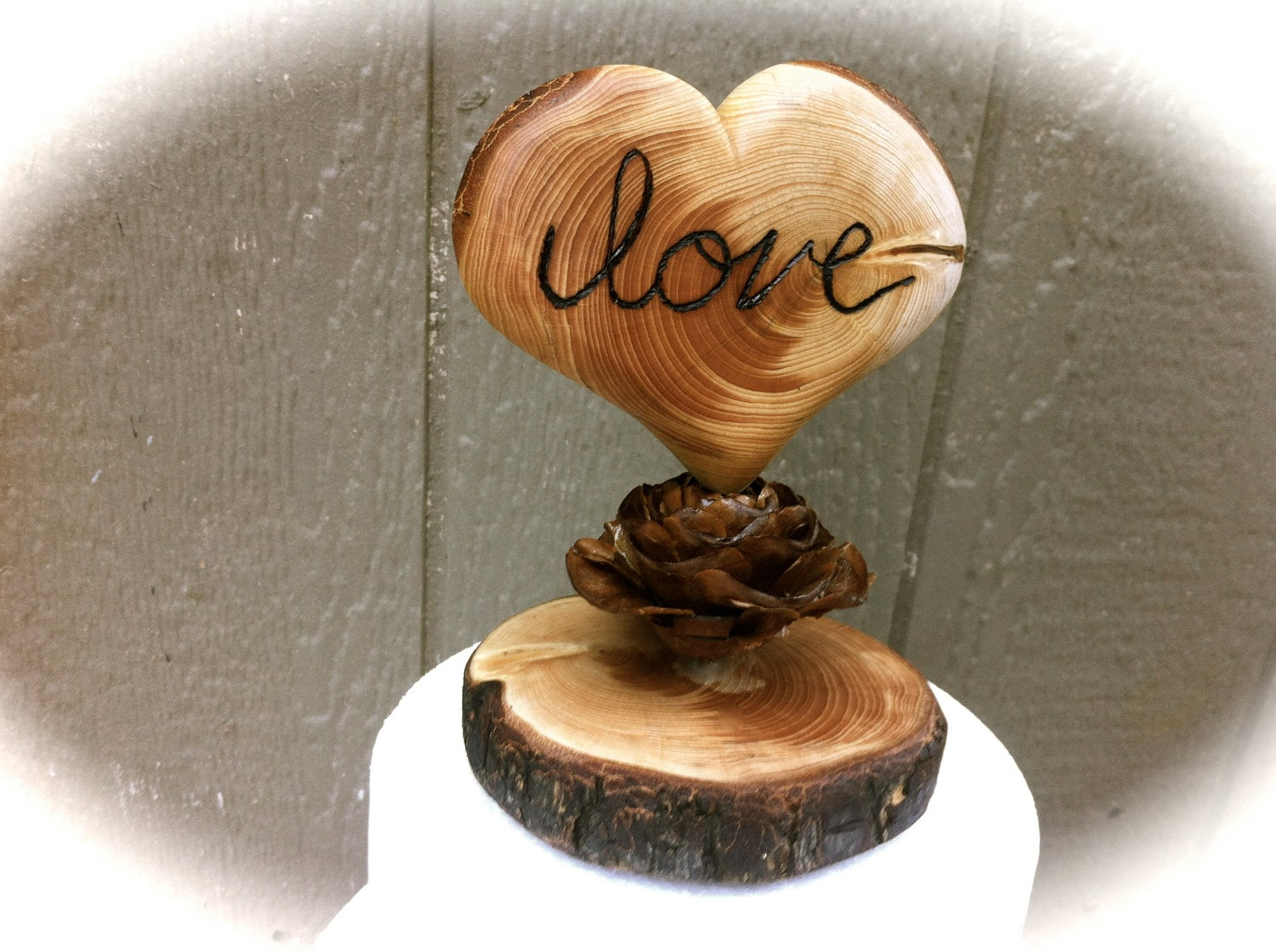 Rustic Wedding Cake Topper Wooden Heart Fall By Momoradrose