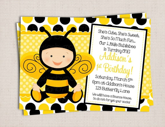 Items Similar To Adorable Little Baby Bumble Bee Birthday Party Printable Invitation Digital File On Etsy