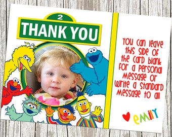 Sesame Street Character Birthday Thank You Card - With Photo