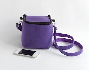 Minimalist Purse Cube Bag Felted Geometric Bag Purple Cross Body Bag Modern Hipster Club Kid Christmas Gift Ideas Women Accessories Mod Bag