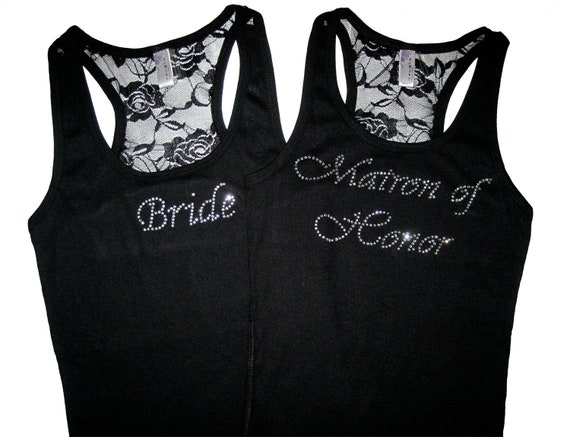 2 Bridesmaid Tank Top Shirts. Bridal Party Lace Tank Top. Bride Tank Top Shirt. Maid of Honor. Mother of the Bride. Wedding Party Clothes.