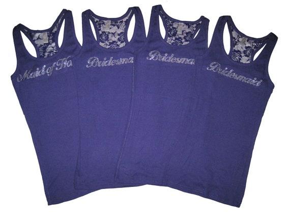 4 Bridesmaid Lace Tank Tops, Bridesmaid Shirts, Bride Tank, Bride Shirt, Bridesmaid Gifts, Bridesmaid Proposal, Bachelorette Party Shirts