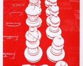 Chessmen on Chessboard - limited edition screenprint