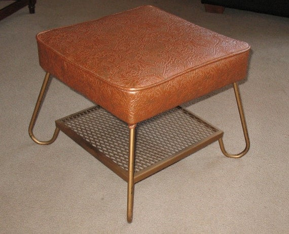 Super Cool Mid Century Ottoman with Magazine Shelf