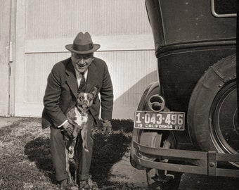 Man, Dog, Vintage Car in the 1920s:  Nostalgic Photo from  Original Negative 8x10