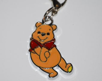 Disney Winnie the Pooh Enamel Clip Charm, zipper pull, backpack, cell phone, purse clip, bracelet, necklace or scrapbooking