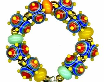Lampwork Glass Beads Rainbow Target Bumpie Bead Set