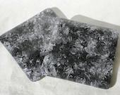 Black, Grey and White Swirled Fused Glass Coasters - Pair