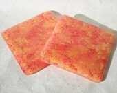 Red, Orange and Yellow Swirl Fused Glass Coasters - Pair