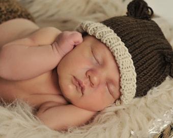Newborn Boy Photo Prop, Baby Bear Hat, Knit Baby Brown Bear Hat, Baby Boy Knit Hat, Baby Girl Knit Hat, Baby Photo Prop, Knitted Baby Hat