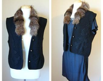 Vintage BOHO Folk VEST in Black Textured Wool and Brown Fur/ size Small-Medium-Large