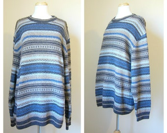 Vintage OVERSIZED STRIPED HIPSTER Sweater/size Small- Medium-Large