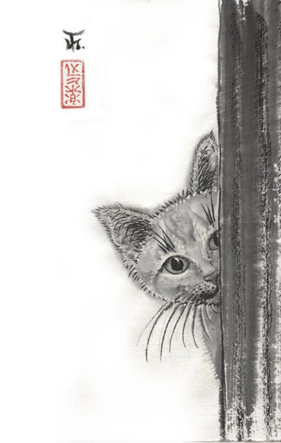 Playful Cat Sumi E Japanese Art 6 5x10 Pet Wall