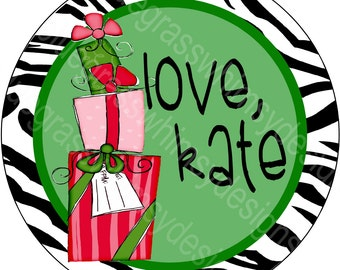 """2.5"""" Round Stickers for Gift Giving- red, green, zebra"""