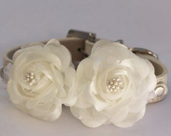 White Dog Collars with white flowers, White leash