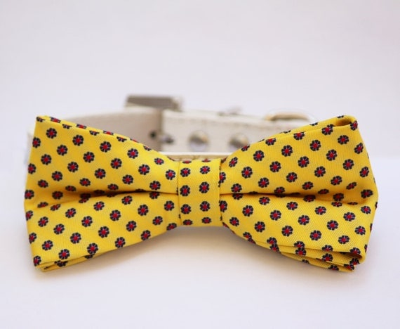 Yellow dog bow tie attached to leather dog collar, Spring wedding idea, Pet wedding accessory, Dog Lovers