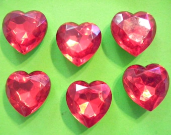 6 Vintage Lucite 25mm Ruby Red Faceted Hearts