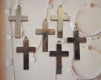 6 Vintage Goldplated 42x24mm Religious Crosses