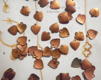 72 Coppercoated 10mm Heart Charms