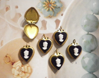 6 Brass Heart Lockets with Black Cameo