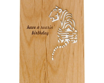Have a Roarin' Birthday: Tiger Birthday Card (Made from Wood)