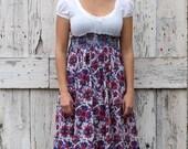 Passionate Paisley Peasant Dress upcycled boho babydoll dress eco friendly purple party dress
