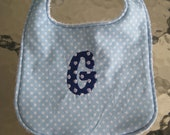 Reserved listing for Meredith Hodges - Green baby bib with navy embroidery
