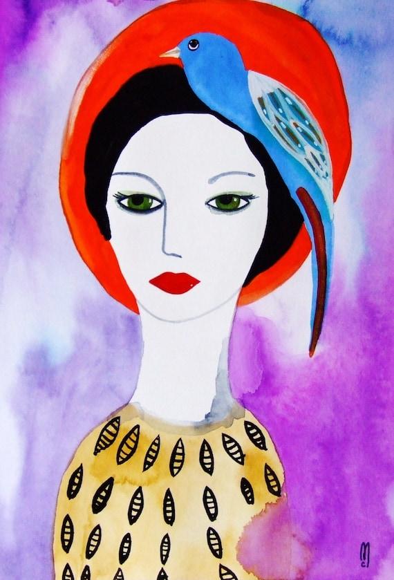 portrait original femme visage peinture gouache femme chapeau. Black Bedroom Furniture Sets. Home Design Ideas