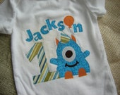 Personalized Monster Birthday Onesie/Shirt (Turquoise, Orange, and Green)