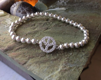 Sterling Silver CZ Peace Sign with 4mm sterling silver beads
