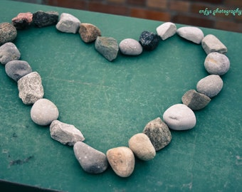 Heart Photography - Fine Art Print - Stone Rock, Heart, Stone, Valentine, Love, Blue, Green, Grey, Wall Decor