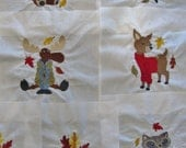"""Embroidered """"Fall Animals"""" Quilt blocks"""